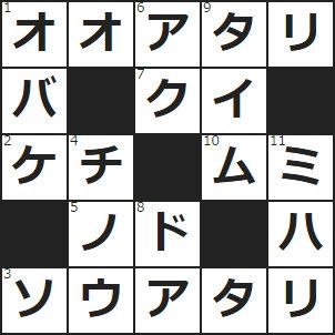 クロスワード(1)宝くじで一等になるようなこと